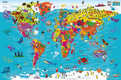 Collins Childrens World Map Illustrated Picture Poster Kids Atlas
