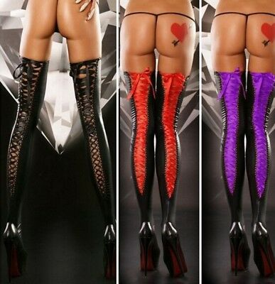 Ladies Black Stockings Hold Ups Pvc Wet Look Faux Leather Shiny Lace Thigh High