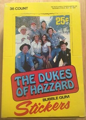 The Dukes Of Hazzard 36 Count Bubble Gum Stickers Full Box Vintage 1981
