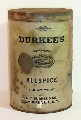 E.R. DURKEE GAUNTLET ALLSPICE TIN SPICE CONTAINER Country Store Display Antique