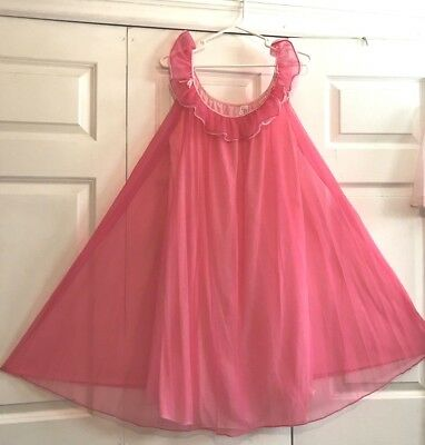 Vtg FLAIR Lingerie Fuschia Baby Pink Lined Chiffon Nightie Negligee Gown M L EXC