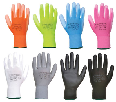 Portwest UK PU Palm Coated Safety Work Gardening Builders Gloves Breathable A120