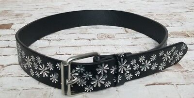 Girls Justice Belt Size Small Black Silver Flowers EUC