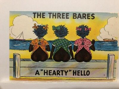 """Vintage Whimsical Postcards """" The Three Bares A Hearty Hello"""""""