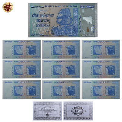 WR 10× Zimbabwe Silver Banknote Colored Z$100 Trillion Collectible Money Set COA