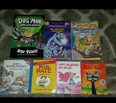 Adventures of Dog Man Unleashed Hardcover Book Geronimo Stilton Pete the Cat Lot