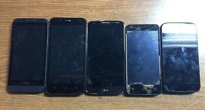 lot of 5 smartphones AS-IS for parts and repairs.
