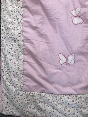 Laura Ashley Bella Butterfly Cot Bed Blanket Vgc Girls Pink Floral