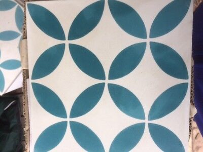 Cement Tiles, , Turquoise and White