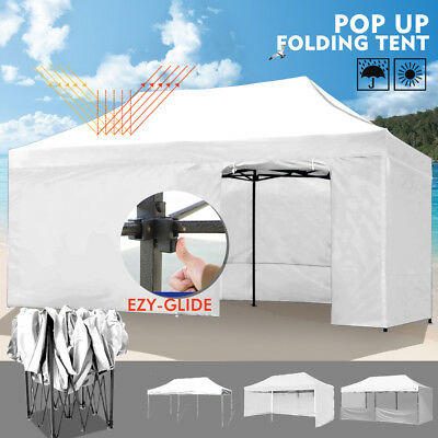 3x6m Gazebo Outdoor PopUp Tent Folding Marquee Party WeddingCamping Canopy White