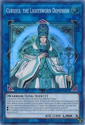 Curious, the Lightsworn Dominion (EXFO-EN091) - Super Rare - 1st Edition