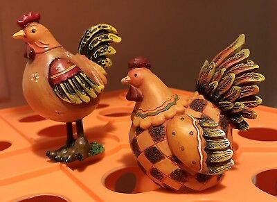 Set Of 2 Very Cute Roosters/Chickens Figures-Love Em!!