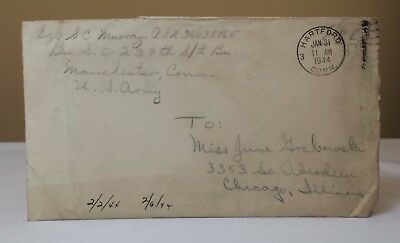 WWII World War 2 Letter US Army Cover 1944 Stampless Red Cross Humphrey Bogart