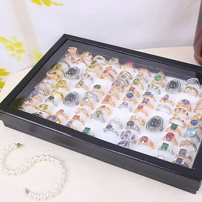 100 Rings Display Storage Box Tray Fashion Black Show Case Jewelry Ring Holder &