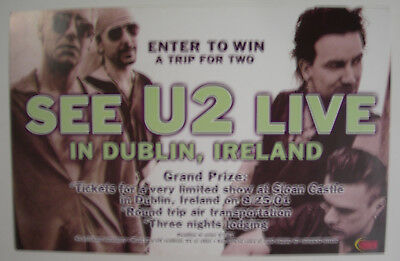 U2 See U2 Live In Dublin Ireland Tower Records Promo Poster 2001 Bono The Edge