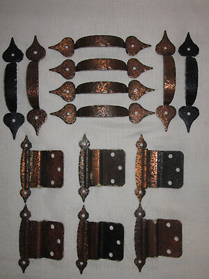 14 PC RARE Vintage HAMMERED COPPER Rustic DRAWER PULLS Handles & HINGES MUST SEE