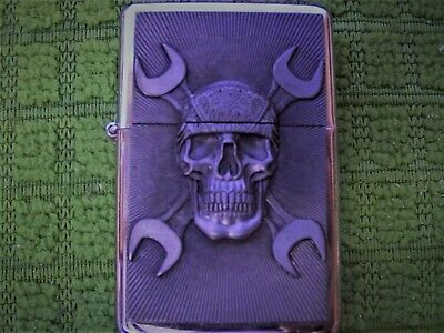 Biker Gothic Skull with Bandana and Wrench for crossbones Colored Flame Lighter