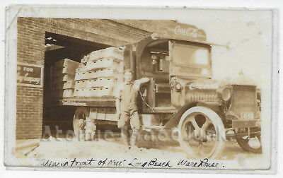 COCA-COLA DELIVERY TRUCK & DRIVER PHOTO POSTCARD LONG BEACH ANTIQUE EARLY 1900s