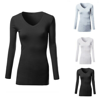 Basic Long Sleeve Solid Top Womens Plain Cotton T-Shirt Stretch Tight V Neck