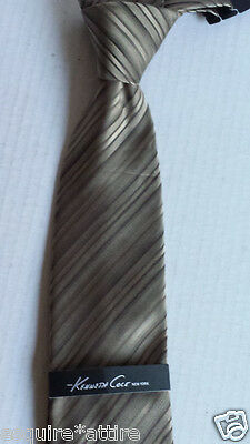 """Kenneth Cole men silk dress brown with stripes neck tie 59"""" long 3.5"""" wide"""