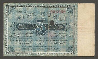 Poland Lodz 5 Rubli 13.3.1915; VF; J-1313; Office of the Elders of the Buyers
