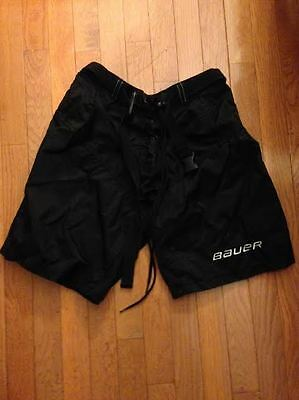 Bauer JR Solid Black Poly/Mesh Lace-up Ice Hockey Shorts Size LG Mint condition