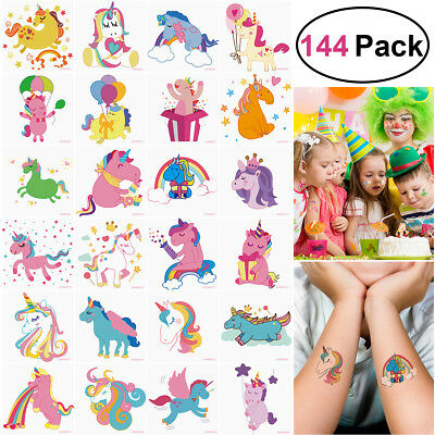 144Pcs Temporary Tattoos Unicorn Dinosaur Stickers Party Supplies Favors kids