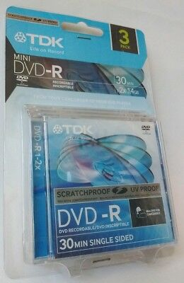TDK SCRATCHPROOF UV PROOF 8cm Mini DVD-R Blank Discs 1.4GB Single Sided 3pk
