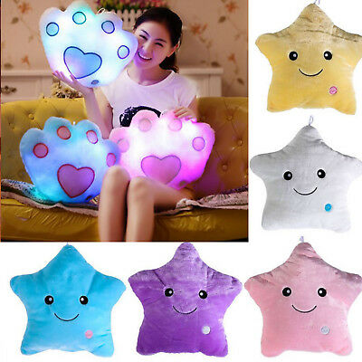 LED Colorful Stuffed Dolls Glowing Stars Plush Cushion Light Valentine Pillows
