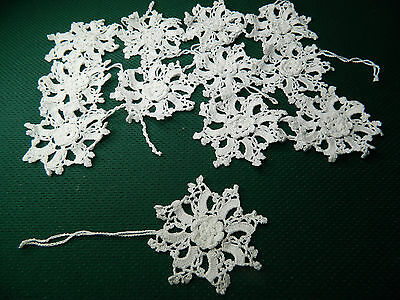 12 Hanging Tree Ornament Shade pull Snowflake Floret Crochet Doilies Lace Motif