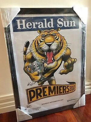 2017 AFL Premiership poster FRAMED Black Timber  - Richmond TIGERS - Grand Final