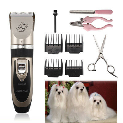 Electric Animal Pet Dog Cat Fur Hair Cordless Trimmer Shaver Razor Clipper Set