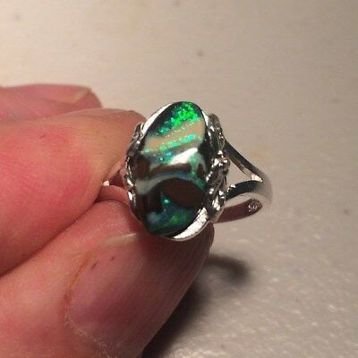 Solid Sterling Silver. Australia. Solid boulder Opal Ladies Ring.  M or  6