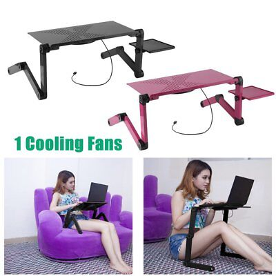 Portable Adjustable Laptop Notebook Desk Table Cooling Fan Mouse holder Bed SE