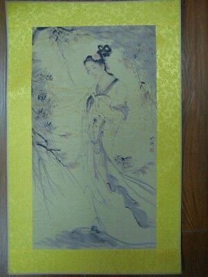 Large Old Chinese Paper Painting Beautiful Woman Image Marks