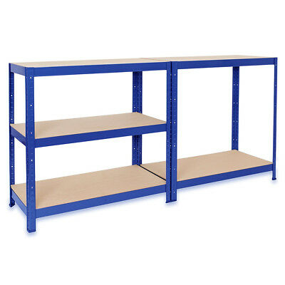 Blue Garage Shelving Racking Steel Work Bench Shop Table Station Warehouse Units