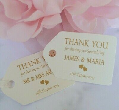 Personalised Small Thank You Wedding Favour Gift Tags SP003