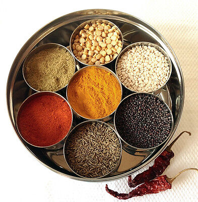 7 authentic Indian Spices Steel Box Masala Dabba | Spice Box Storage | 20-23 cm
