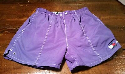Vintage Mens Medium M Purple Swim shorts Tommy Trunks Hilfiger EUC nice nylon