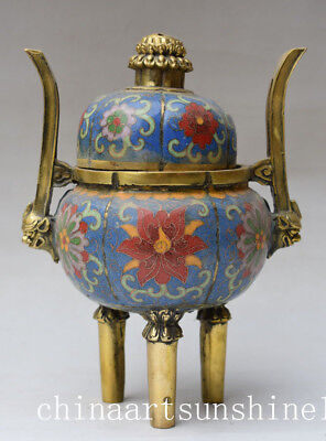 Chinese Old Cloisonne Home Decoration Incense Burner Collection Handmade Carved