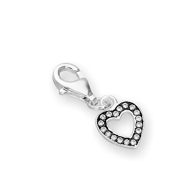 Sterling Silver & Clear CZ Crystal Open Heart Clip On Charm w Black Rhodium