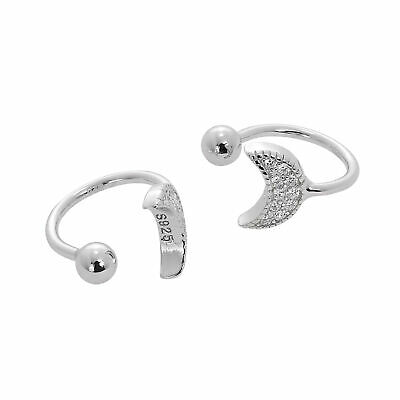 Real 925 Sterling Silver & Clear CZ Crystal Crescent Moon Ear Cuffs Night Sky