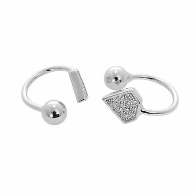 Real 925 Sterling Silver & Clear CZ Crystal Gem-Shaped Ear Cuffs Plain Simple