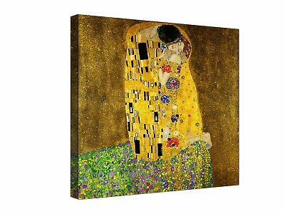 "Gustav Klimt; The Kiss  - 30"" x 30"" Canvas Wall Art, Ready to hang"