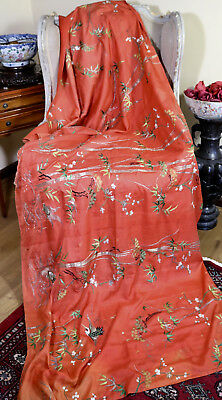 Antique Chinese Embroidered Silk Hanging Birds Bamboo Turtles  233cm