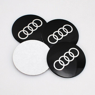 4Pcs 56.5mm Aluminium Car Sticker Wheel Center Hub Cap Emblem Fit for Audi