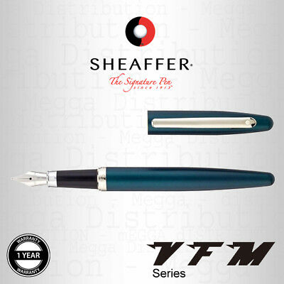 Sheaffer VFM Fountain Pen Satin Peacock Green + Chrome Trim w/ Steel Medium Nib