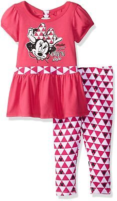 Disney Girls' 2 Piece Minnie Mouse Short Sleeve Tunic and Legging Set Dar... New