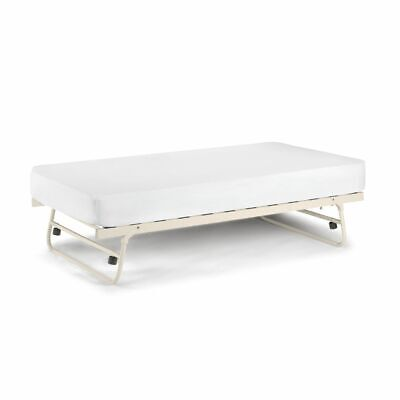 Versailles Stone White Metal Underbed Trundle Bed 3ft Single 4 Mattress Options