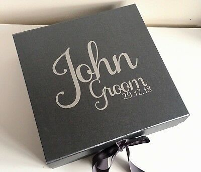 Large Pewter Grey Gift Box Personalised Valentines Birthday Groom Wedding